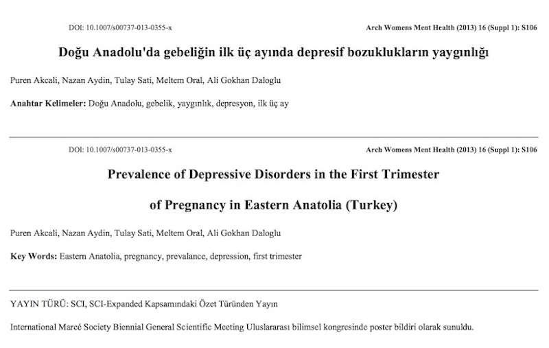 Doğu Anadolu'da gebeliğin ilk üç ayında depresif bozuklukların yaygınlığı