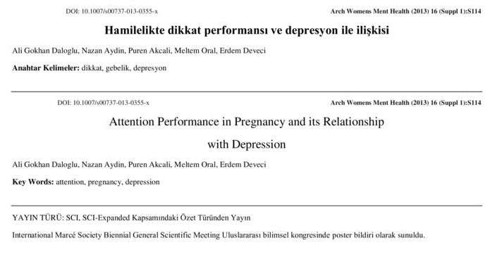 Hamilelikte dikkat performansı ve depresyon ile ilişkisi