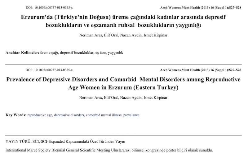 Erzurum'da (Türkiye'nin Doğusu) üreme çağındaki kadınlar arasında depresif bozuklukların ve eşzamanlı ruhsal bozuklukların yaygınlığı