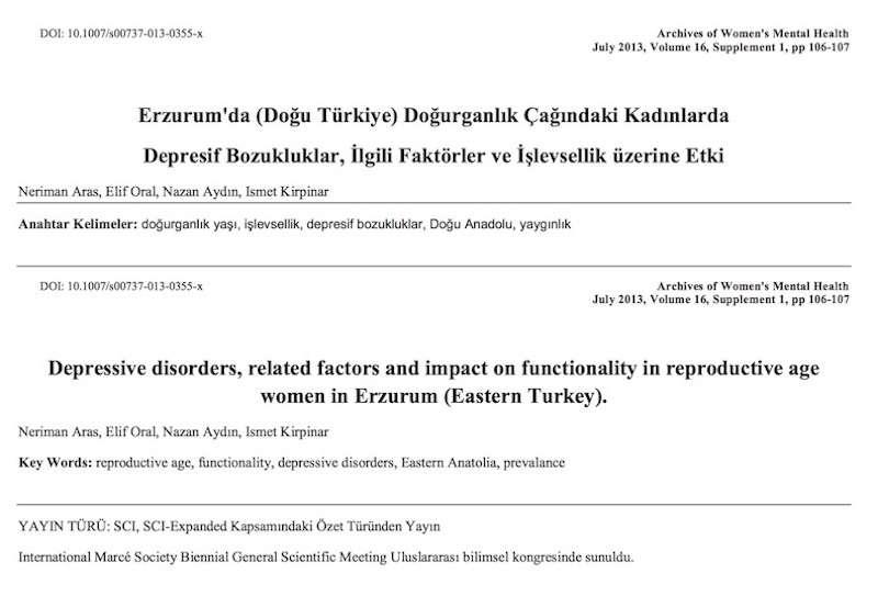 Erzurum'da (Doğu Türkiye) Doğurganlık Çağındaki Kadınlarda Depresif Bozukluklar, İlgili Faktörler ve İşlevsellik üzerine Etki