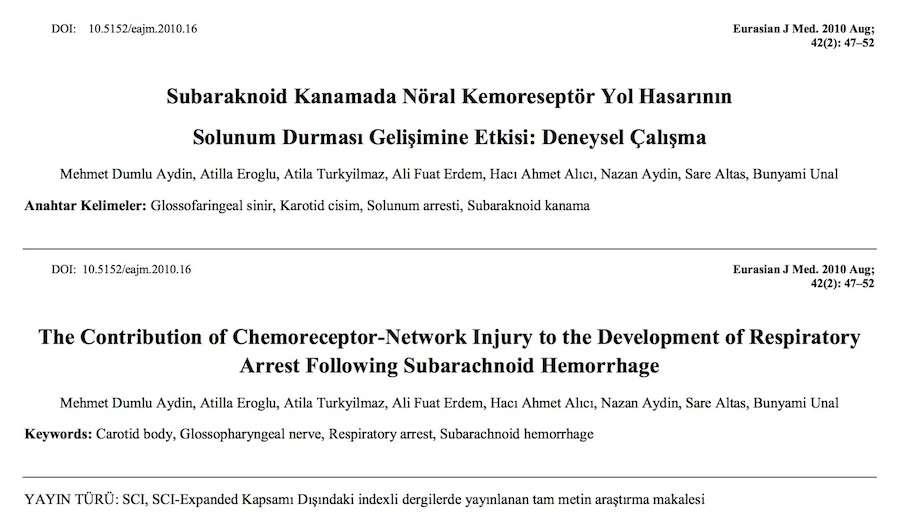 Subaraknoid Kanamada Nöral Kemoreseptör Yol Hasarının Solunum Durması Gelişimine Etkisi: Deneysel Çalışma