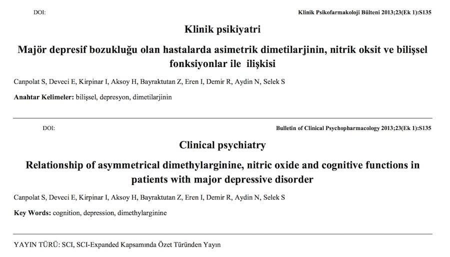 Majör depresif bozukluğu olan hastalarda asimetrik dimetilarjinin, nitrik oksit ve bilişsel fonksiyonlar ile ilişkisi