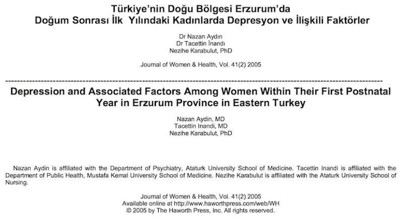 Türkiye'nin Doğu Bölgesi Erzurum'da Doğum Sonrası İlk Yılındaki Kadınlarda Depresyon ve İlişkili Faktörler