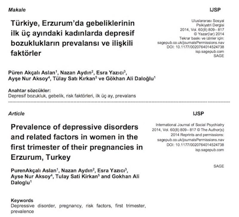 Türkiye, Erzurum'da gebeliklerinin ilk üç ayındaki kadınlarda depresif bozuklukların prevalansı ve ilişkili faktörler