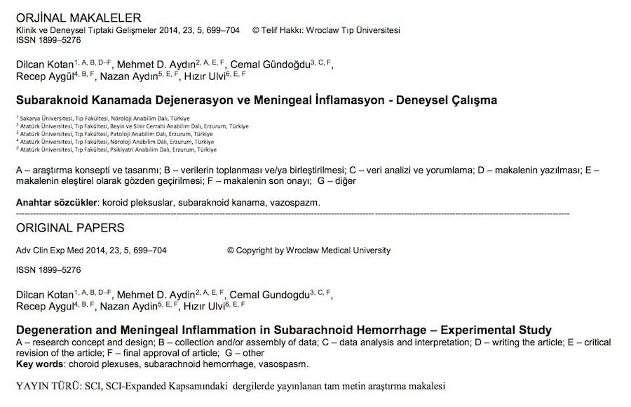 Subaraknoid Kanamada Dejenerasyon ve Meningeal İnflamasyon - Deneysel Çalışma