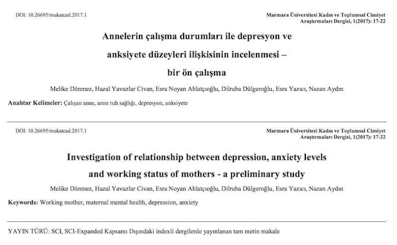 Annelerin çalışma durumları ile depresyon ve anksiyete düzeyleri ilişkisinin incelenmesi – bir ön çalışma
