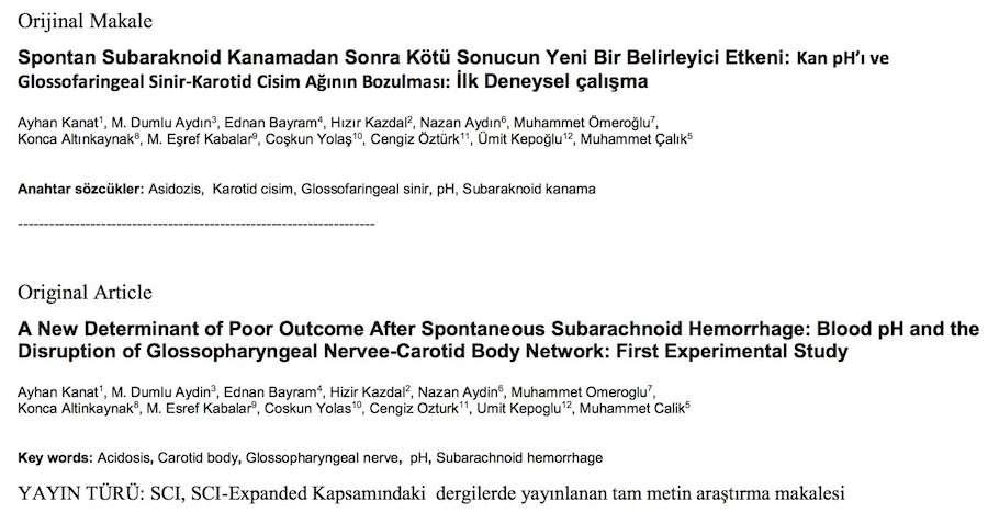 Spontan Subaraknoid Kanamadan Sonra Kötü Sonucun Yeni Bir Belirleyici Etkeni: Kan pH'ı ve Glossofaringeal Sinir-Karotid Cisim Ağının Bozulması: İlk Deneysel çalışma