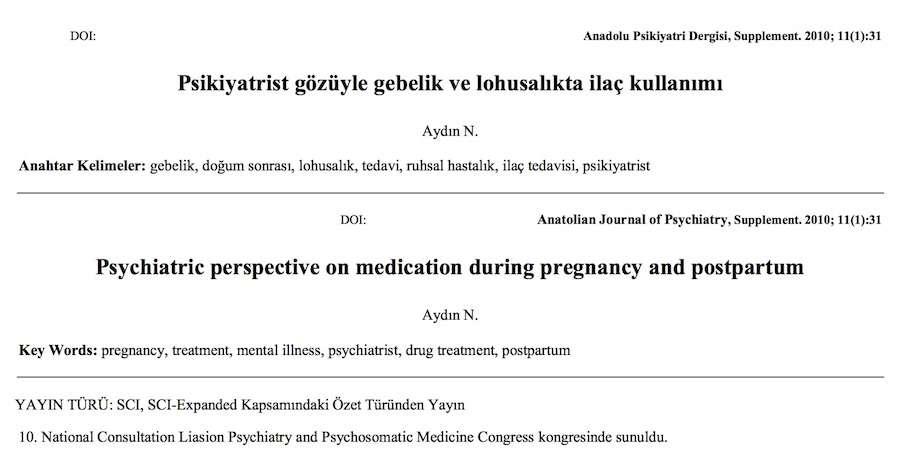 Psikiyatrist gözüyle gebelik ve lohusalıkta ilaç kullanımı