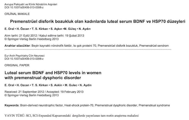 Premenstrüel disforik bozukluk olan kadınlarda luteal serum BDNF ve HSP70 düzeyleri