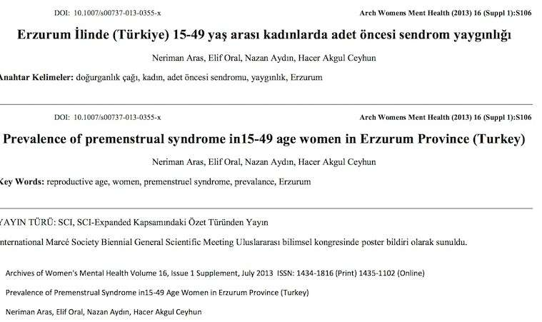 Erzurum İlinde (Türkiye) 15-49 yaş arası kadınlarda adet öncesi sendrom yaygınlığı