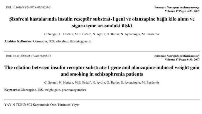 Şizofreni hastalarında insulin reseptör substrat-1 geni ve olanzapine bağlı kilo alımı ve sigara içme arasındaki ilişki