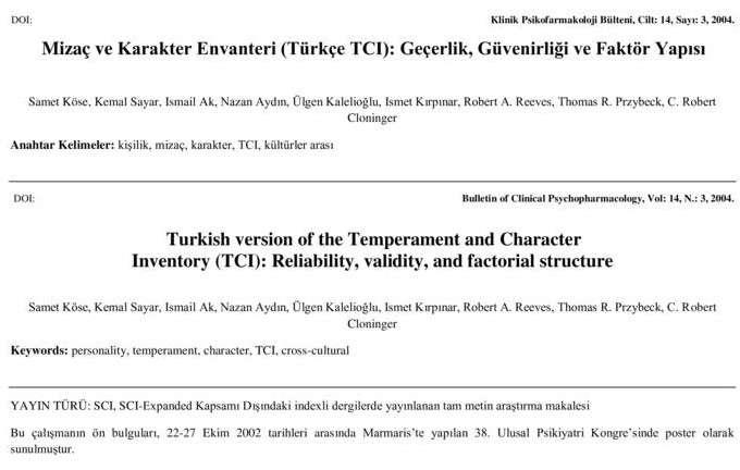 Mizaç ve Karakter Envanteri (Türkçe TCI): Geçerlik, Güvenirliği ve Faktör Yapısı
