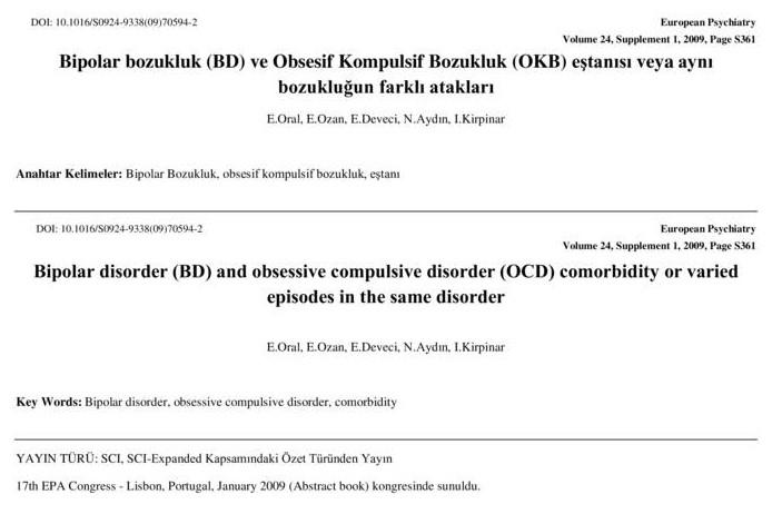 Bipolar bozukluk (BD) ve Obsesif Kompulsif Bozukluk (OKB) eştanısı veya aynı bozukluğun farklı atakları