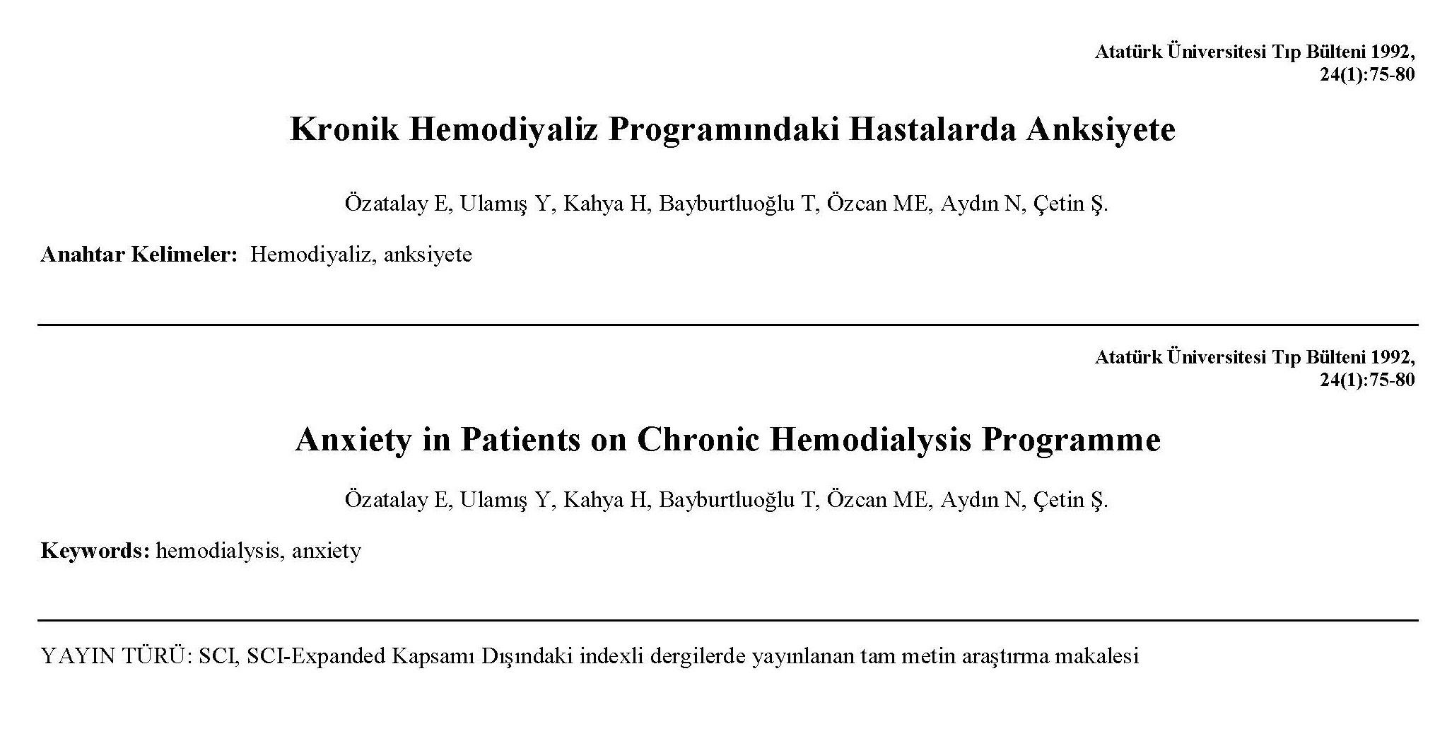 Kronik Hemodiyaliz Programındaki Hastalarda Anksiyete