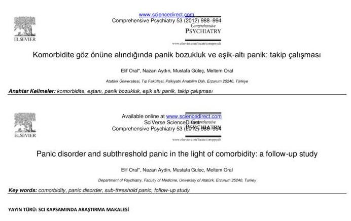 Komorbidite göz önüne alındığında panik bozukluk ve eşik-altı panik: takip çalışması