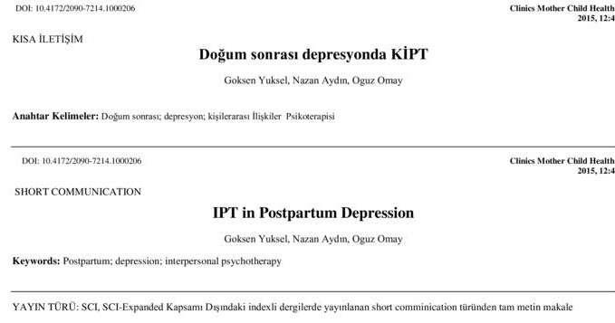 Doğum sonrası depresyonda KİPT