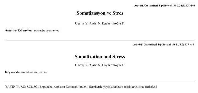 Somatizasyon ve Stres