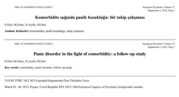 Komorbidite ışığında panik bozukluğu: bir takip çalışması