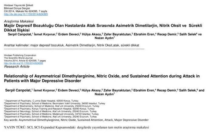 Majör Depresif Bozukluğu Olan Hastalarda Atak Sırasında Asimetrik Dimetilarjin, Nitrik Oksit ve Sürekli Dikkat İlişkisi