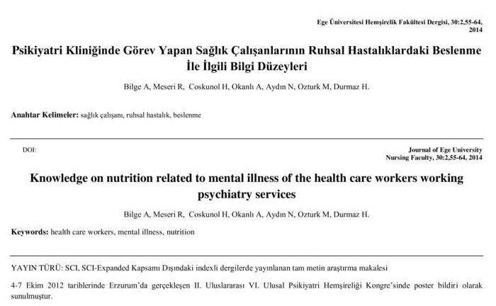 Psikiyatri Kliniğinde Görev Yapan Sağlık Çalışanlarının Ruhsal Hastalıklardaki Beslenme İle İlgili Bilgi Düzeyleri