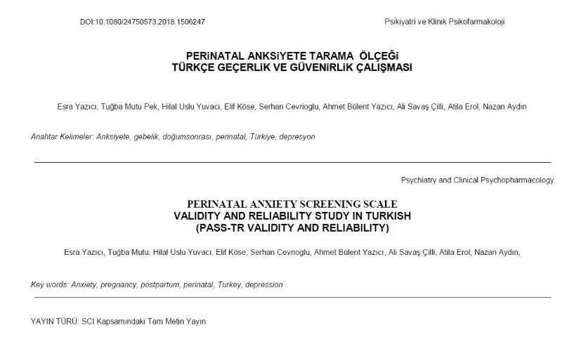 Perinatal Anksiyete Tarama  Ölçeği  Türkçe Geçerlik Ve Güvenirlik Çalışması