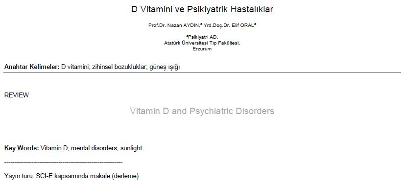 D Vitamini ve Psikiyatrik Hastalıklar