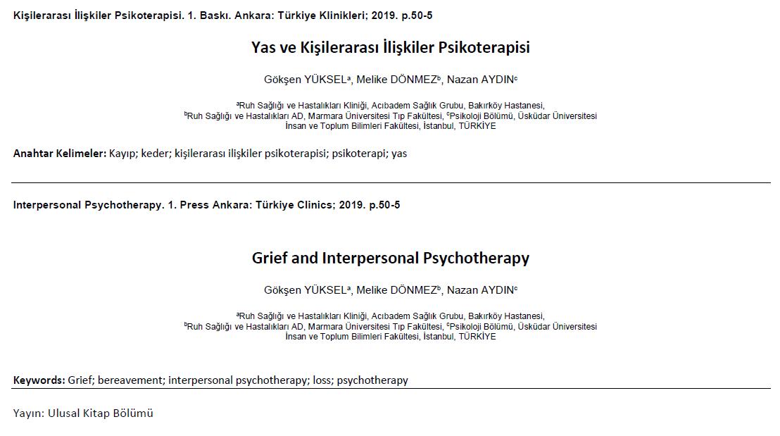 Yas ve Kişilerarası İlişkiler Psikoterapisi