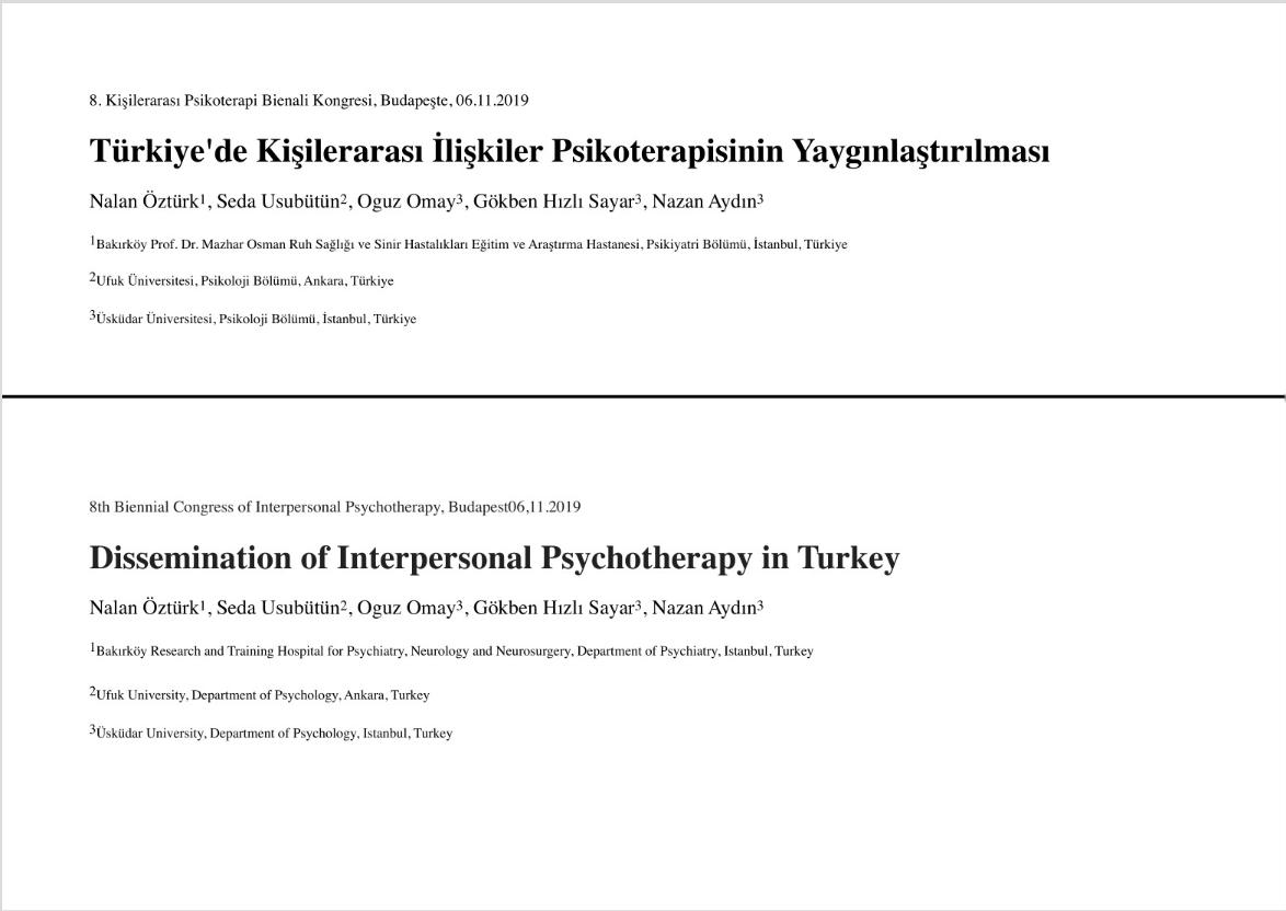 Türkiye'de Kişilerarası İlişkiler Psikoterapisinin Yaygınlaştırılması