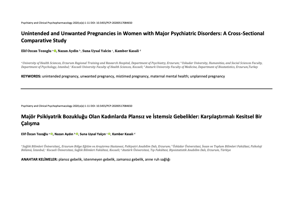 Unintended and Unwanted Pregnancies in Women with Major Psychiatric Disorders: A Cross-Sectional Comparative Study