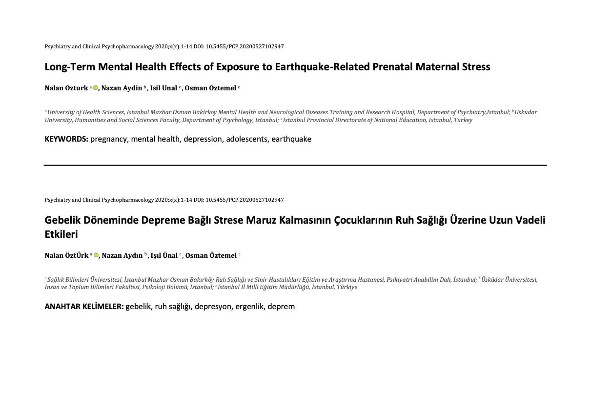 Long-Term Mental Health Effects of Exposure to Earthquake-Related Prenatal Maternal Stress